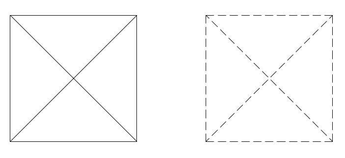 linha contínua x linha tracejada