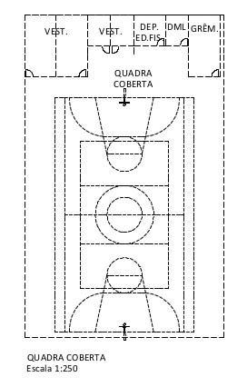 Exemplo: Quadra coberta Esquemática 1:250