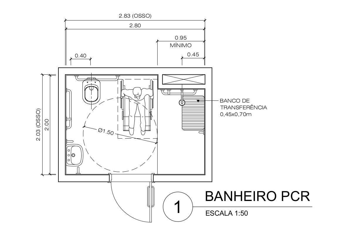 dimensões mínimas de ambientes: Exemplo de Banheiro residencial para PCR