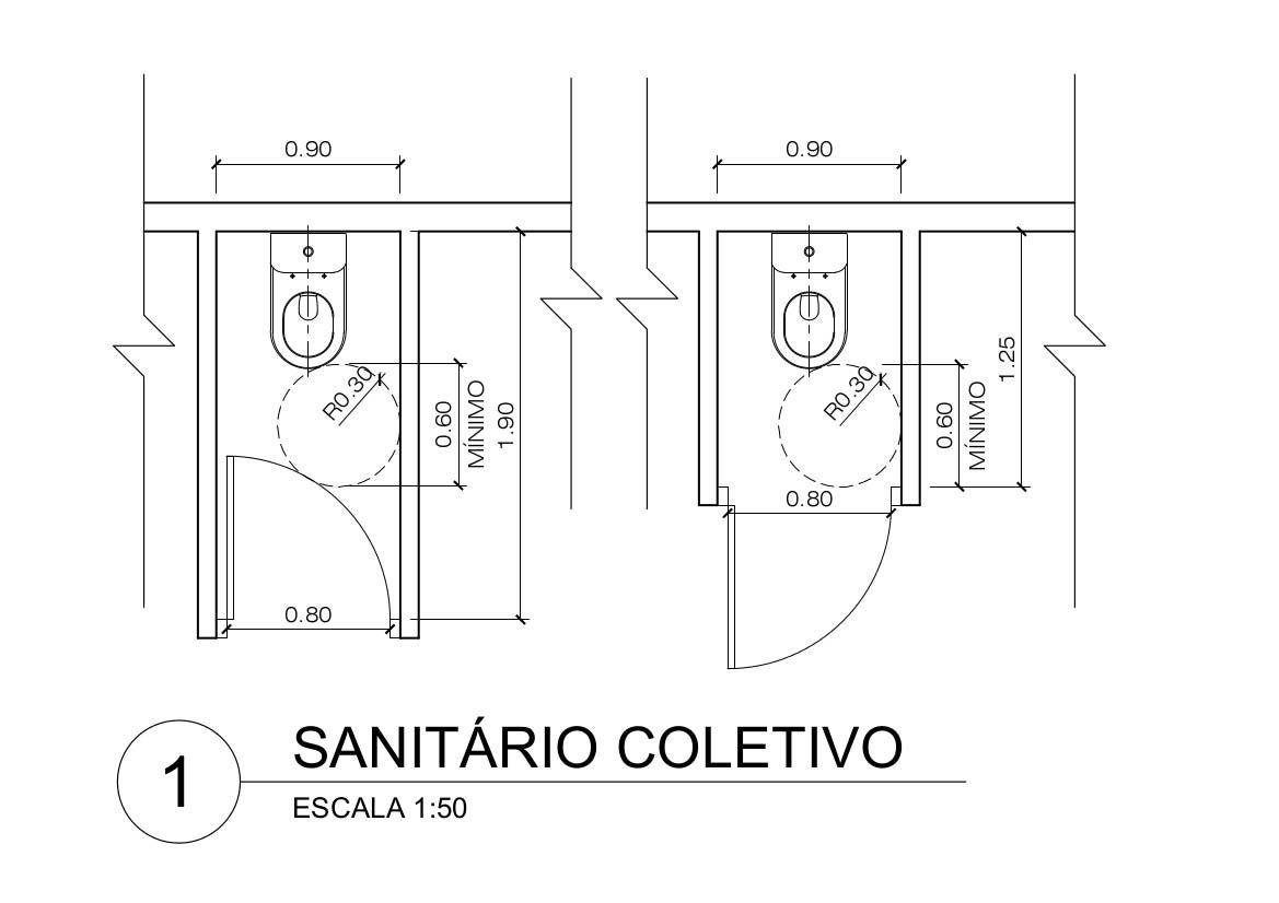 dimensões mínimas de ambientes: Exemplos de sanitário coletivo para PMR e PO