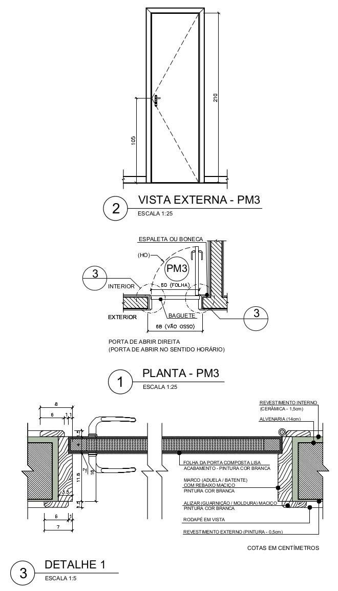 Exemplo de porta de madeira utilizada em sanitários residenciais