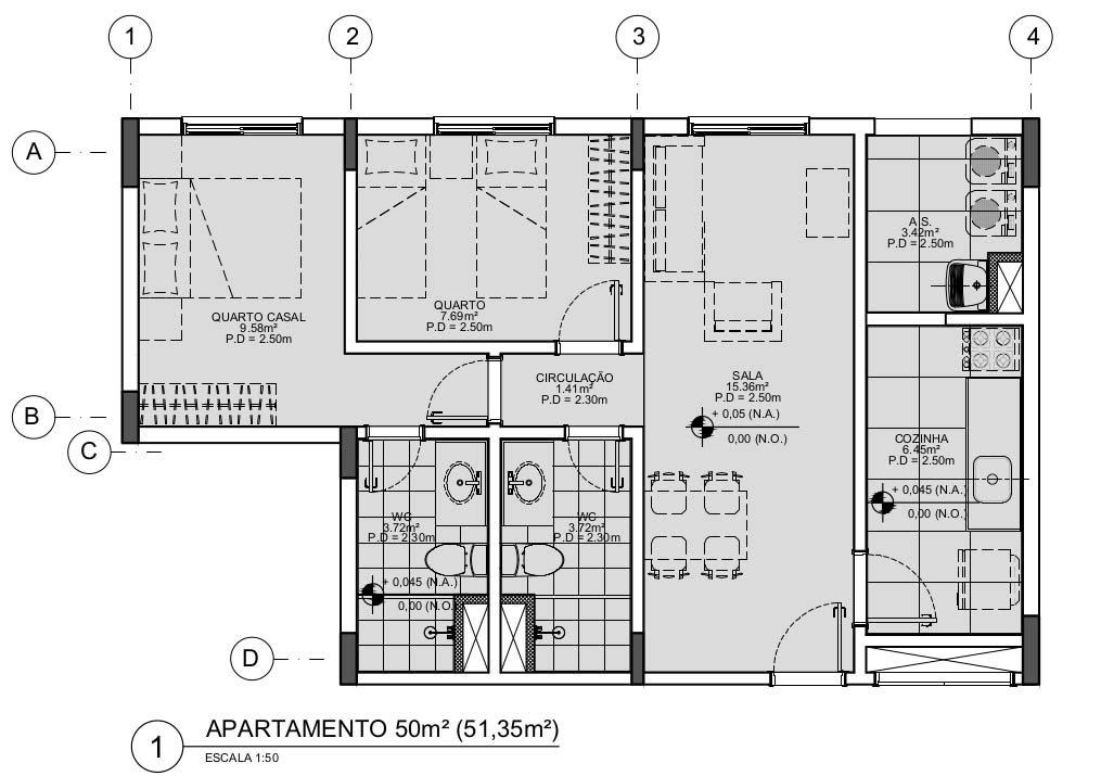 Dimensões mínimas de mobiliário e ambientes: Apartamento de 50m²