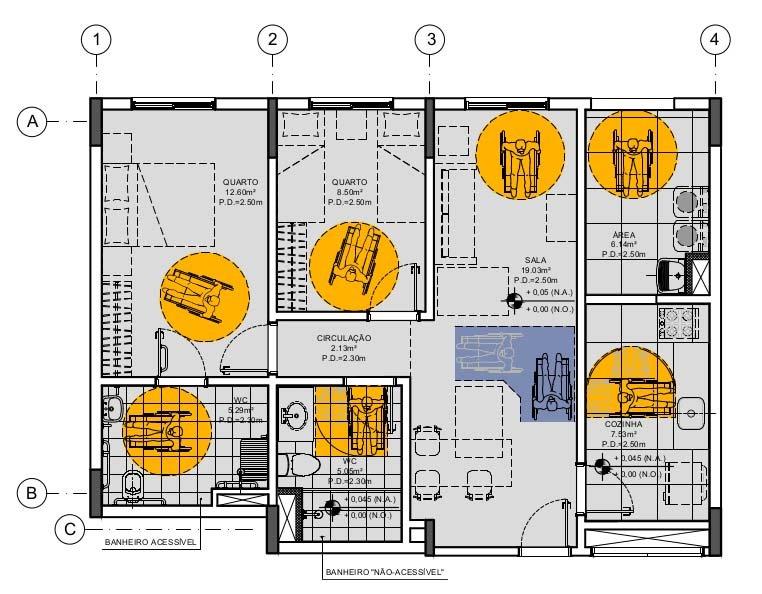Exemplo de apartamento acessível com 65m²
