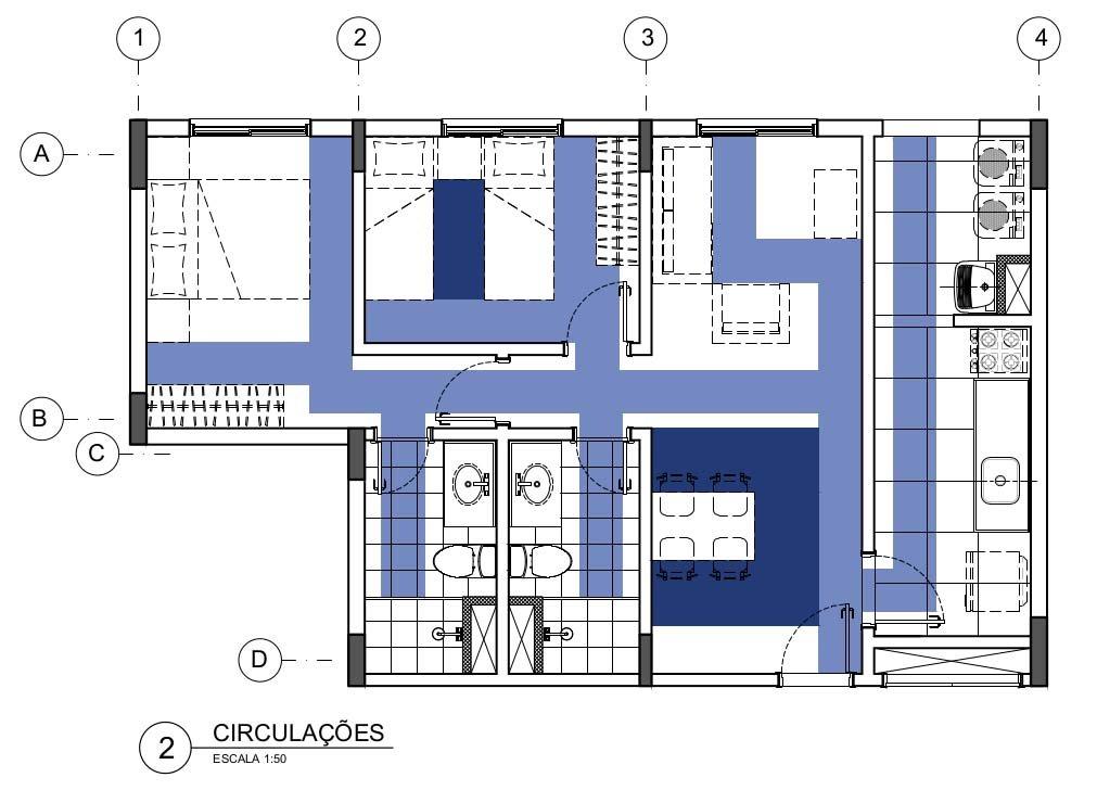 Dimensões mínimas de mobiliário e ambientes: Estudo de circulações - apartamento 50m²