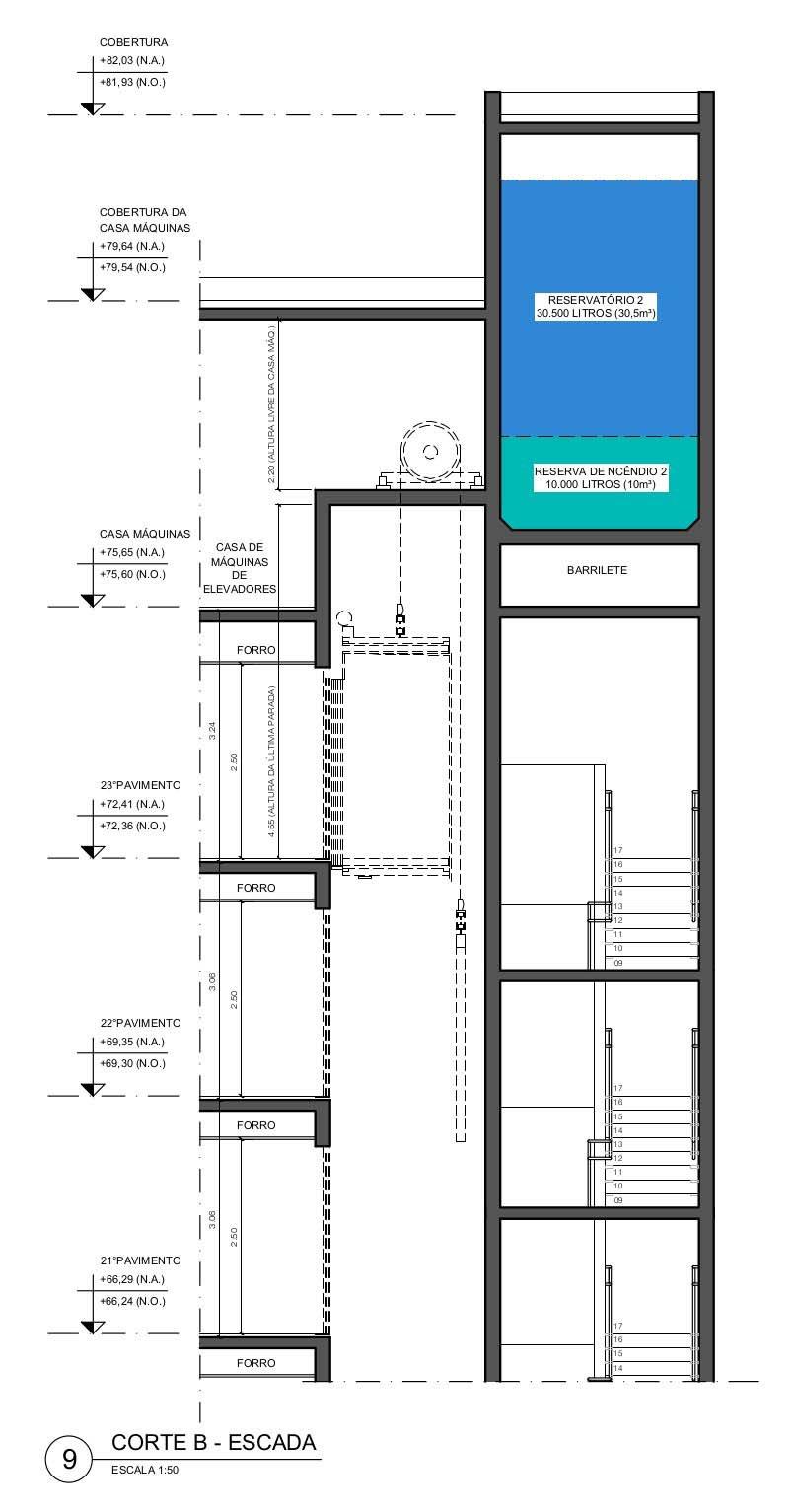 Corte B - Escada