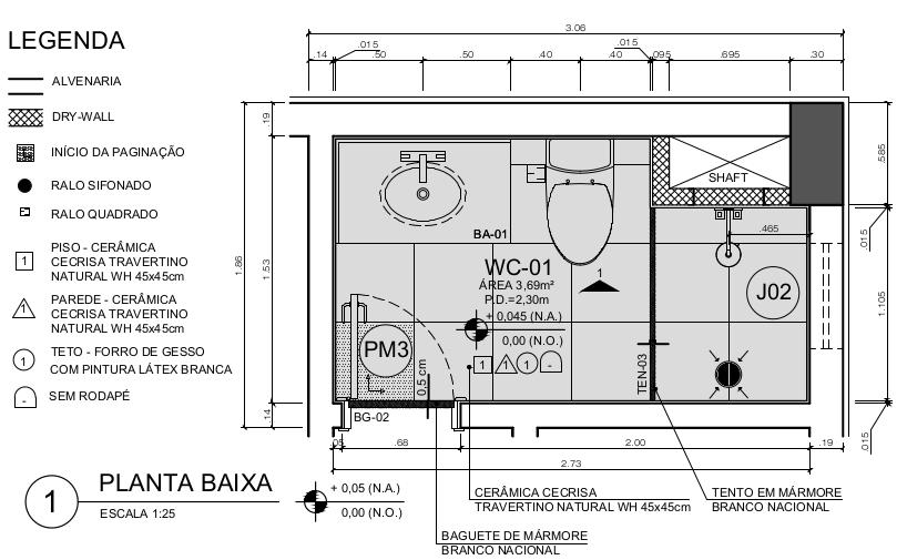 Detalhe de Área Molhada - Escala 1:25
