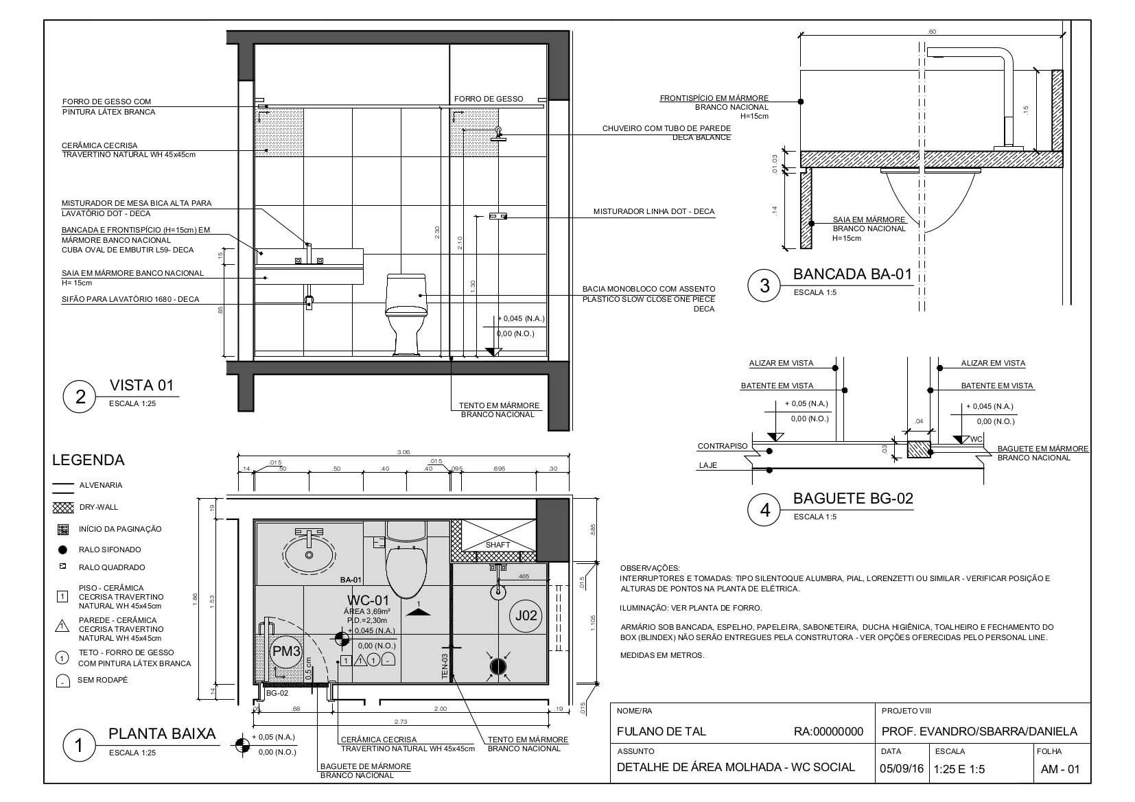 Representação gráfica - Exemplo de Detalhamento de Banheiro na Escala 1:25