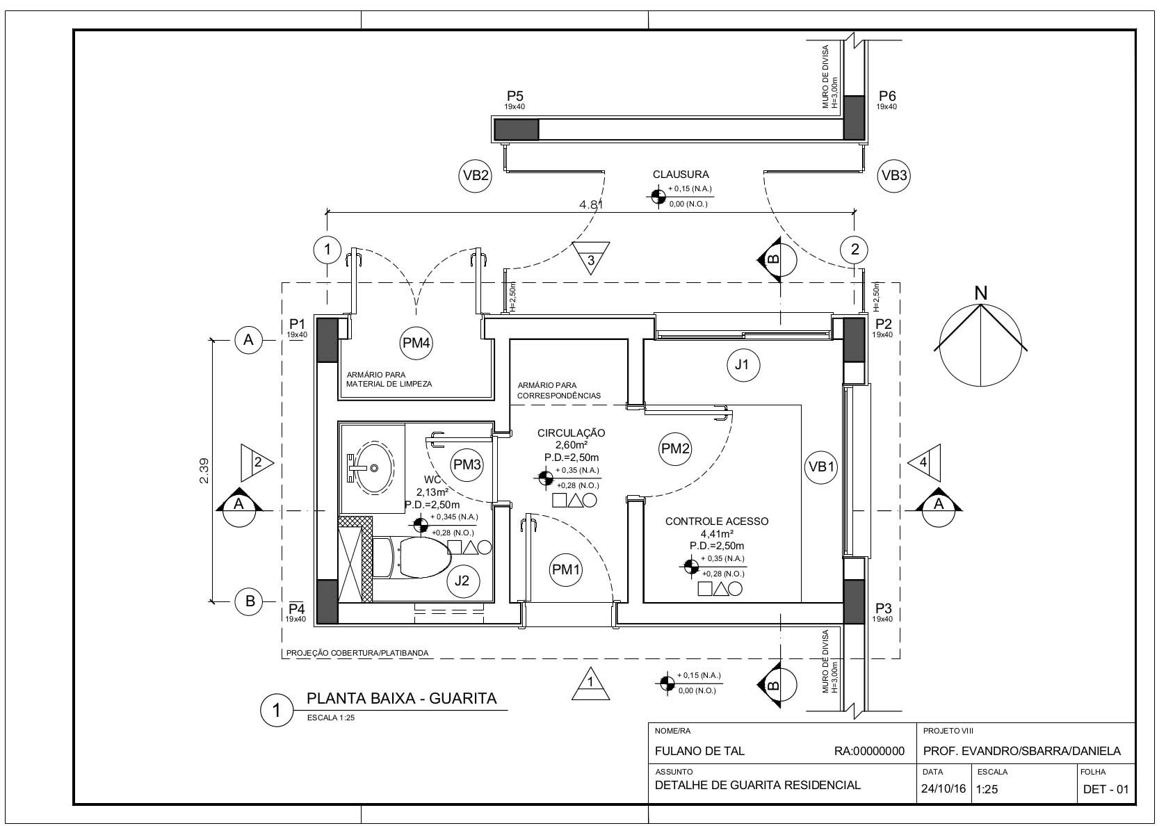 Representação gráfica - Planta de Guarita - Escala 1:50