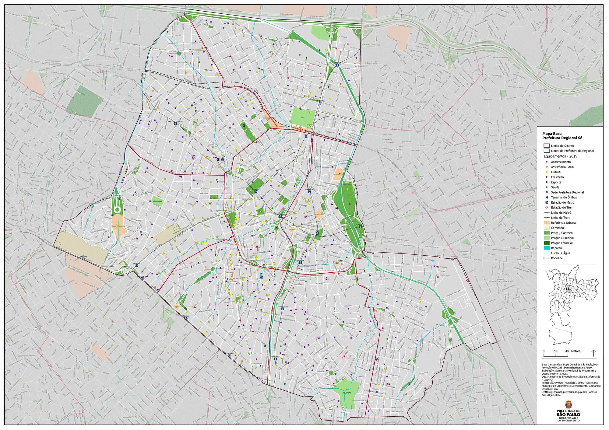 Diagnósticos urbanos - Exemplo de Mapa de Equipamentos - Subprefeitura Sé