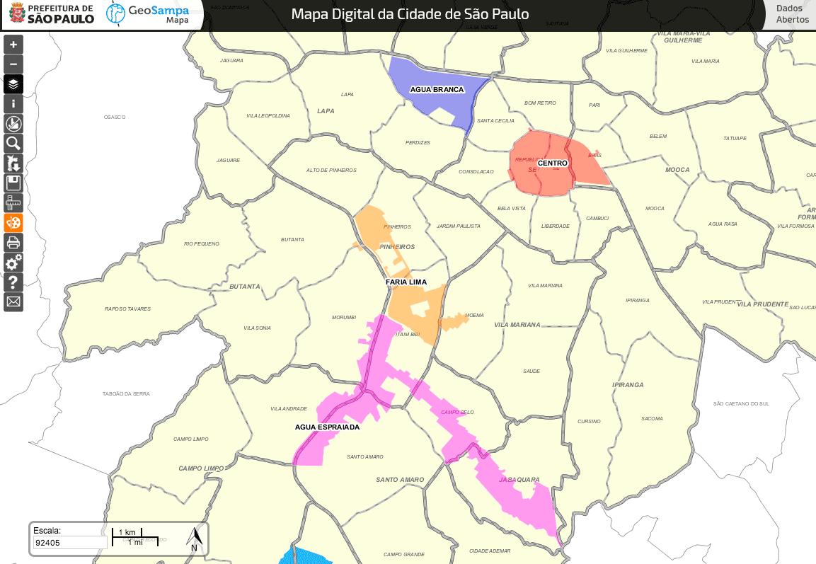 Operação Urbana - Localização das áreas Fonte: GeoSampa