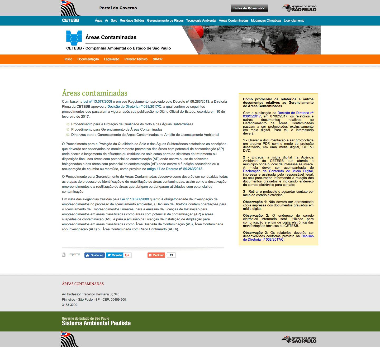 CETESB - áreas contaminadas