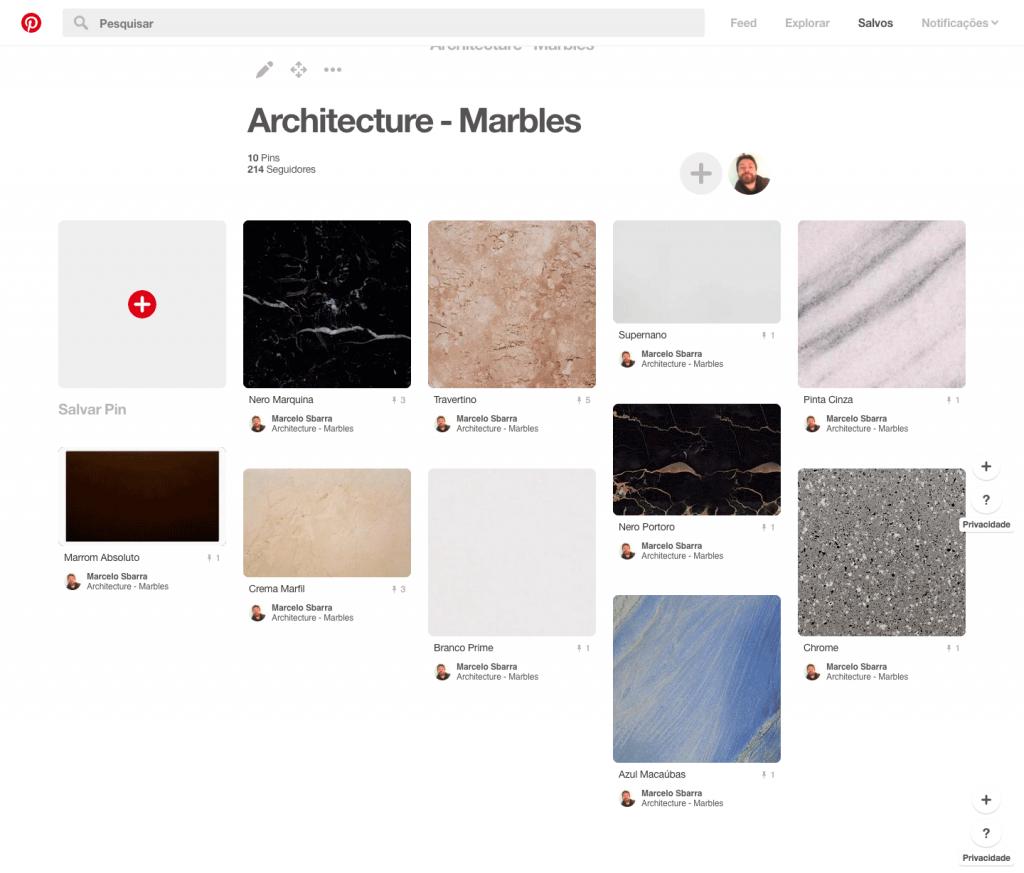 Exemplo de tipos de mármore no Pinterest
