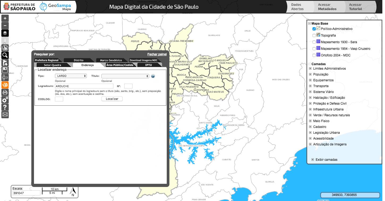 Geosampa - Localizando o endereço