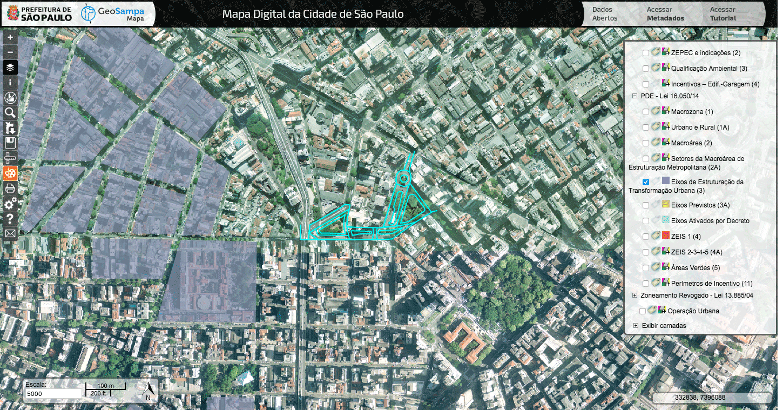 GeoSampa -Eixos de Estruturação da Transformação Urbana