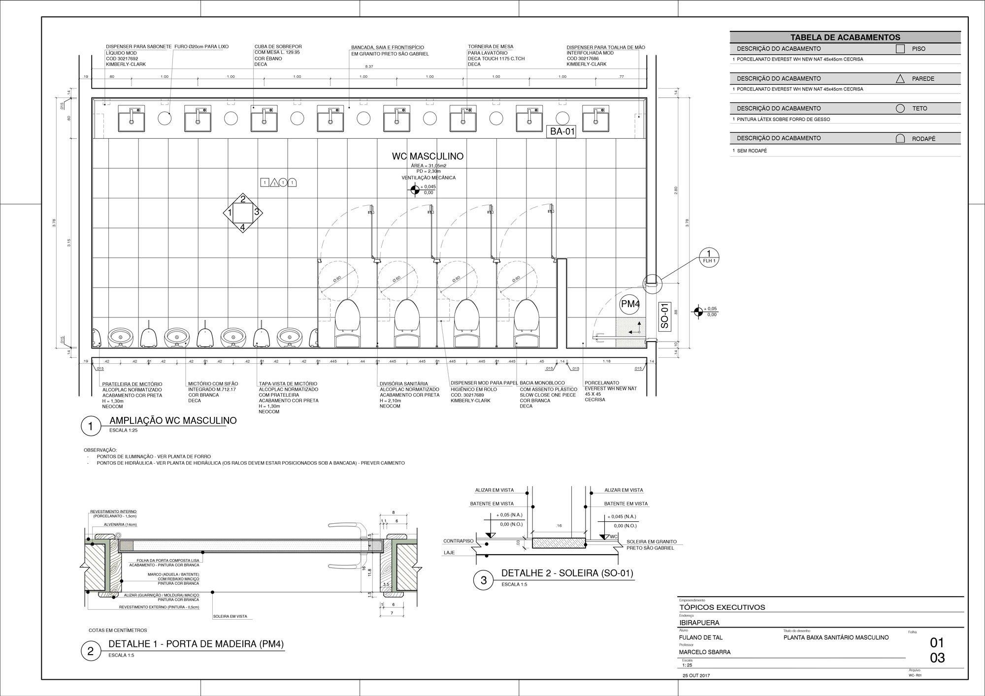 Planta WC - Detalhamento de Área Molhada