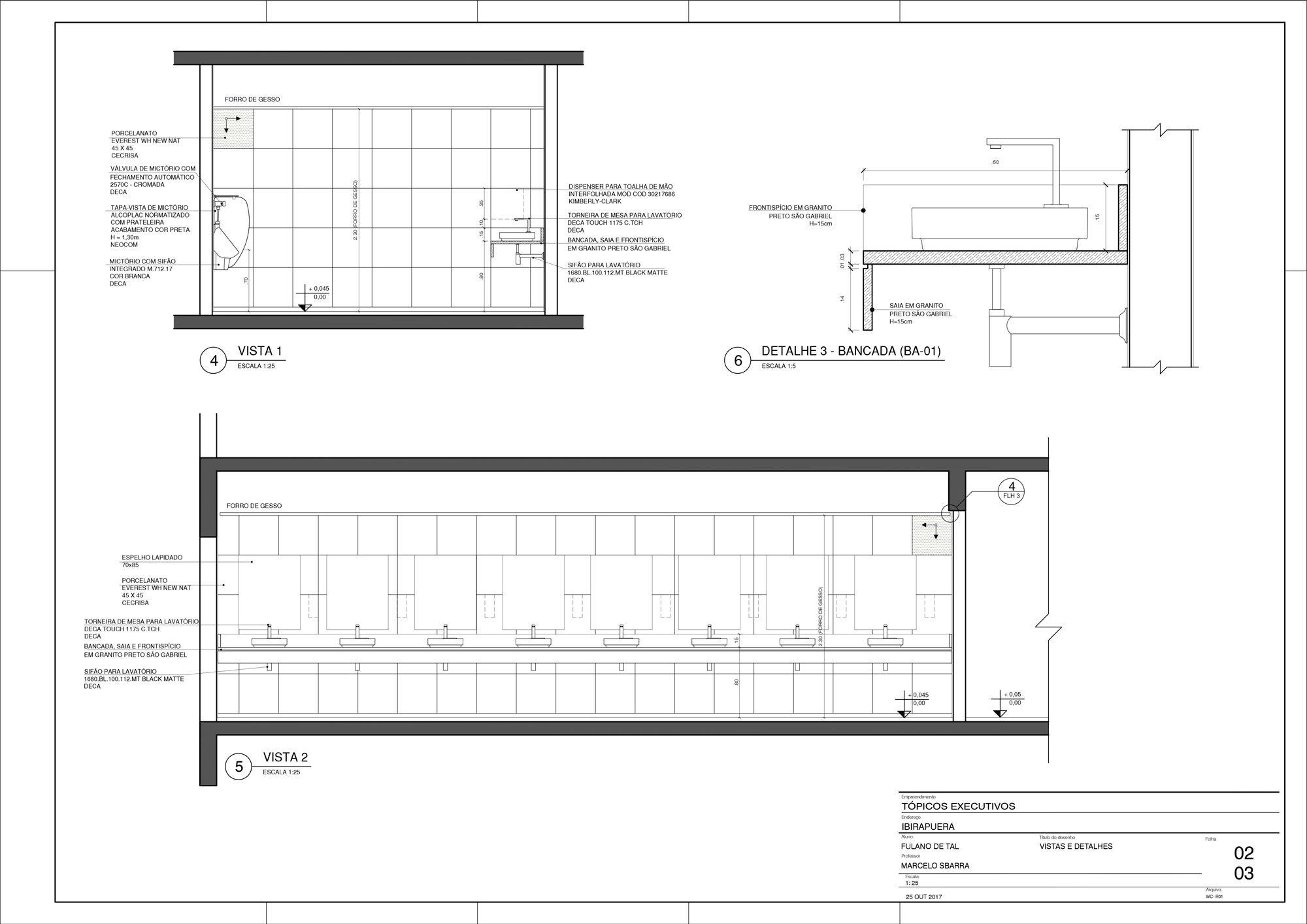 Planta WC - Detalhamento de Área Molhada - Vistas e Detalhes