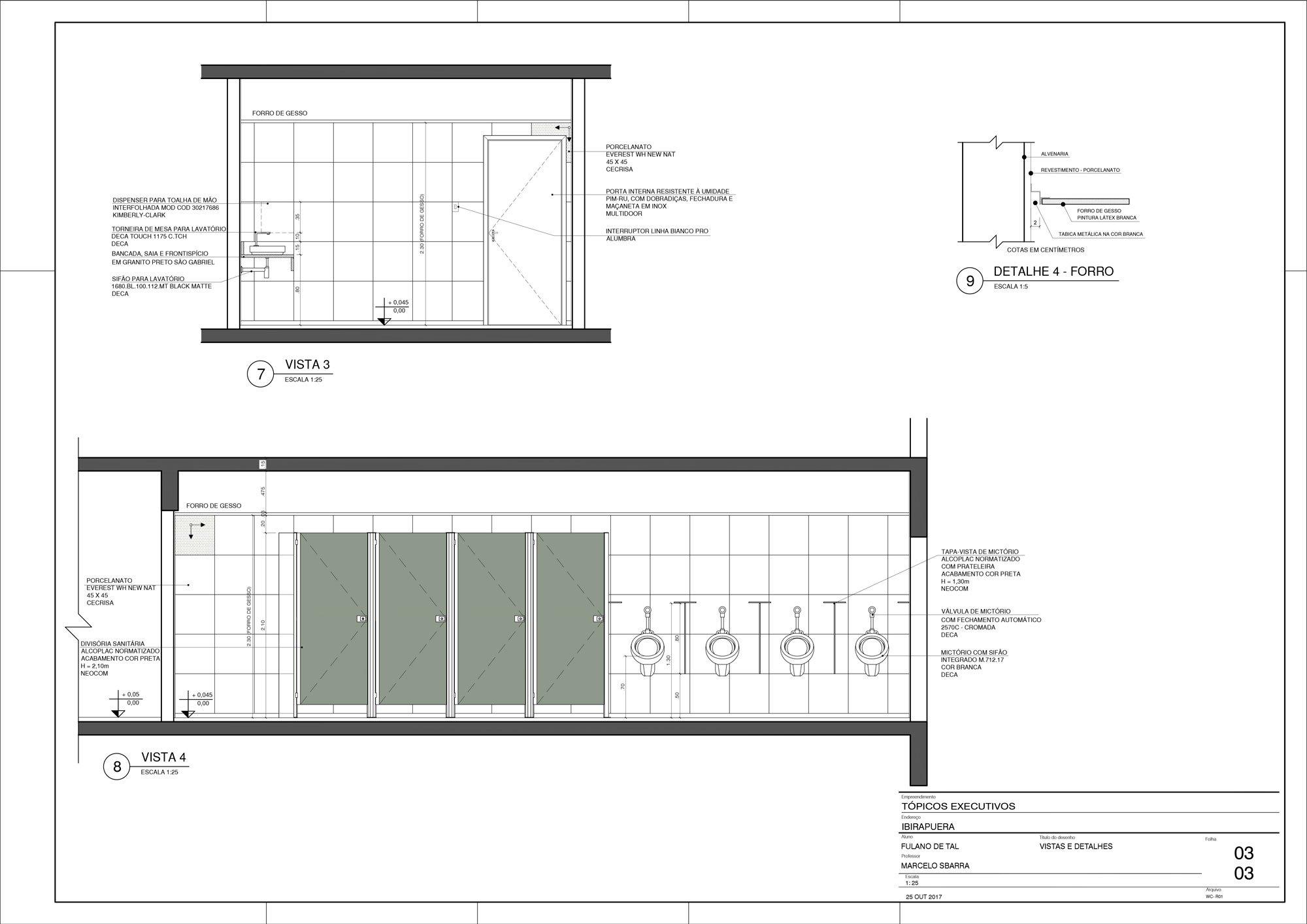 Planta WC - Detalhamento de Área Molhada - Vistas e Detalhes (II)